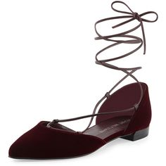 Stuart Weitzman Gilligan Lace-Up d'Orsay Flat ($410) ❤ liked on Polyvore featuring shoes, flats, bordeaux, ankle strap flats, lace up pointed toe flats, lace up flat shoes, lace up flats and ankle strap flat shoes