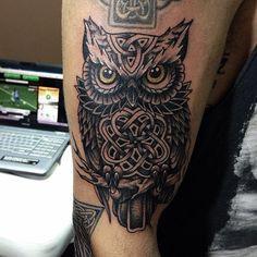 Grey Celtic Owl Tattoo