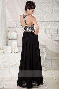 New Arrival Princess Floor-length Straps Backless Chiffon Black Evening Dresses