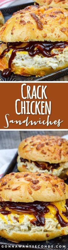 Easy Crack Chicken Recipe (With Video!) This super simple Crack Chicken recipe is cooked in the crockpot and makes the most amazing, creamy, flavorful chicken filling for hearty sandwiches. Slow Cooker Recipes, Cooking Recipes, Cooking Dishes, Cooking Videos, Meat Recipes, Cooking Tips, Kid Cooking, Easy Sandwich Recipes, Gastronomia