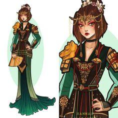 Sketch Dress Kyoshi Warrior Avatar art by Hannah Alexander