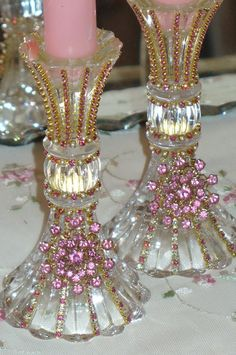 Beautiful Bejeweled Crystal Candlesticks Set 1 Pink Shimmer By Del Rosario-Antique, Perfume, Weiss, Rhinestones, Glass, Crystal, Victorian,candle holder, candlestick, pink,