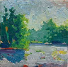 "A Pond in Woodstock, Vermont - oil on canvas -6"" x 6"".  Available on Etsy ! Henry Isaacs Home Page"
