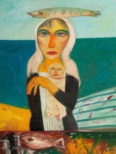 "cavetocanvas: "" John Bellany, Scottish Mother and Child, 2005 "" John Bellany, Glasgow Museum, Casual Art, Art Of Love, Inspirational Artwork, Art Uk, London Art, Naive Art, Mother And Child"