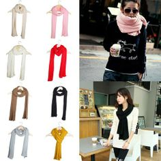 Winter Women Fashion Warm Sided Flat Solid Color Knitted Cotton Scarf Shawl Wrap
