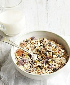 """""""I am fed up with muesli that is full of dried fruit smothered in sulphur dioxide and dusty stuff. Muesli should be 100 per cent wholegrains, nuts, seeds and berries. Good Healthy Recipes, Clean Recipes, Whole Food Recipes, Healthy Snacks, Cooking Recipes, Healthy Muesli Recipe, Granola Muesli, Bircher Muesli, Snacks"""