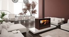 Jide: Double sided wood burning stove for open plan rooms | Eurostove