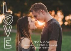 """Sweet and playful, this postcard-style save the date features the word """"Love"""" written in bubble letters set off to one side while a favorite photograph of you two and your wedding date details stand out.Printed on white 130 lb cover paper with a t Casual Couple Photos, Cute Couple Poses, Cute Couple Pictures, Couple Posing, Couple Photography Poses, Couple Portraits, Photography Ideas, Engagement Photography, Save The Date Pictures"""
