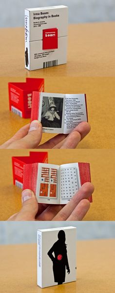 Miniature books—another variation on the idea of book within book (as I feel tip-ins are very much part of our zeitgeist and is a bit ubiquitous nowadays)—we could have mini version of our book to highlight the objectness of the medium. Could be a fresher take on our book-ception idea / Irma Boom
