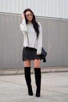 oversized knit, mini skirt & over the knee boots
