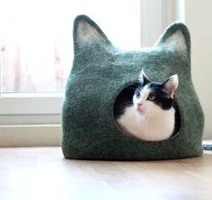 Handmade Felted Wool Cat Cave by Agnes Felt eclectic pet beds