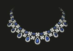 Sapphire and Diamond Necklace Magnificent diamond and sapphire necklace reflecting the beauty of nature- tabbah jewelry Sapphire Necklace, Sapphire Jewelry, Diamond Jewelry, Druzy Jewelry, Sapphire Diamond, Blue Sapphire, Gold Earrings, Gold Jewelry, Jewelry Box