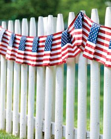 To show off your love for this country on Memorial Day, we recommend lining your fence, moat or topiary garden with a pleated American flag garland. #greypoupon