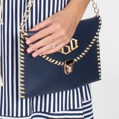 Monogrammed Whipstitch Luxe Clutch from Marleylilly.com