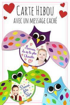 Ces jolis hiboux cachent un message secret sous leurs ailes. Une très belle carte à fabriquer avec les enfants pour la fête des mères et la fête des pères !