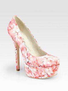 Beautiful & Gorgeous Print! Alice + Olivia  Larimore Satin Cherry Blossom Platform Pumps