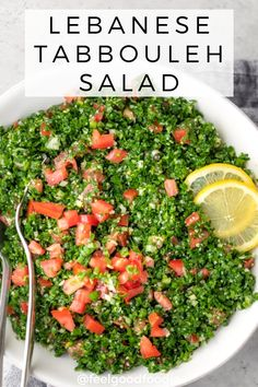 This Traditional Lebanese Tabbouleh Salad Recipe Is A Healthy Vegan Mediterranean Appetizer Made With Bulgur, Parsley, Mint And Chopped Vegetables. Lebanese Recipes Healthy Salad Healthy Appetizers Via Cucumber Recipes, Healthy Salad Recipes, Gourmet Recipes, Parsley Recipes, Mediterranean Appetizers, Mediterranean Recipes, Mediterranean Chicken, Lebanese Recipes, Lebanese Cuisine