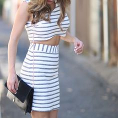 Two Piece Crop Top Skirt by Sabo Skirt This is super adorable. Soft material. I paired this with strappy high heels. Sabo Skirt Dresses