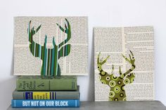 Deer Head with Antlers Silhouette - Eco-Friendly Collage in Green with Reused Book Pages. $24.00, via Etsy.