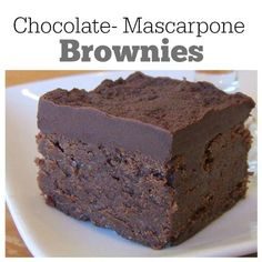Chocolate- Mascarpone Brownies recipe : rich and delicious! Sweet Desserts, No Bake Desserts, Just Desserts, Sweet Recipes, Delicious Desserts, Dessert Recipes, Yummy Food, Recipes Dinner, Decadent Brownie Recipe