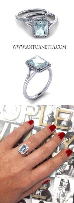 14k White Gold Aquamarine Engagement Ring with Diamond Halo