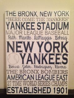 Subway Art  New York Yankees. MLB. Baseball ' Rustic' Looking Canvas by CreationsbyCLM, $30.00