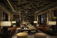 Salon - Wine, Cheese Cigar Lounge at The Sanchaya Home Interior Design, Interior Architecture, Interior Decorating, Cigar Bar, Cigar Club, Crowded House, Beautiful Hotels, Amazing Hotels, Loft Studio
