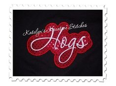 Hogs Applique Script - 3 Sizes! | Words and Phrases | Machine Embroidery Designs | SWAKembroidery.com Katelyn's Kreative Stitches