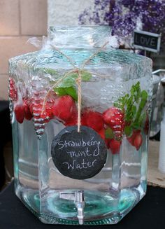 Rustic bridal shower decor - strawberry mint water ~ Definitely will have flavored water! Baby Shower Brunch, Tea Party Bridal Shower, Bridal Shower Rustic, Bridal Shower Games, Bridal Shower Foods, Wedding Shower Drinks, Baby Shower Drinks, Wedding Showers, Shower Favors