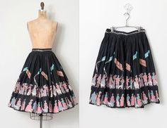 vintage 1950s novelty skirt / 50s novelty dog print by SwaneeGRACE