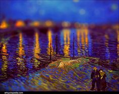 Tilt-shift perspective distortion of Starry Night Over the Rhone by Vincent van Gogh || Serena Malyon