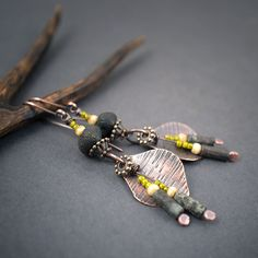 rustic glass earrings • boho earrings • autumn • hand hammered copper leaves • raw black • tribal jewelry • ethnic • boho chic • entre2et7 by entre2et7 on Etsy