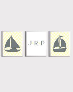 Nautical Ikat Chevron monogram Sailboat Personalized Initials Yellow Grey custom colors print set of 3 each 11x14. $48.00, via Etsy.