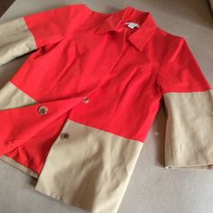 Coldwater Creek red/khaki jacket. NWOT, never worn This is adorable, hidden snaps, 3/4 sleeves, light weight khaki/red cotton, full lined in red. ONLY selling because it's a size large for me. Never worn, but removed tags, regretfully. Coldwater Creek Jackets & Coats