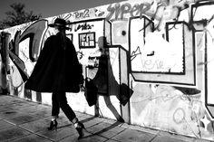 Black cape, b&w, hat, ankle boots