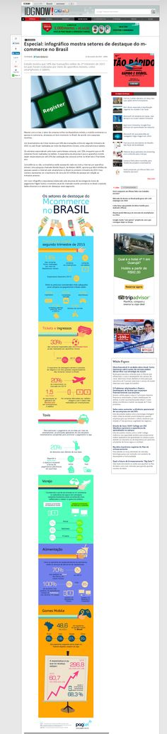 Título:Especial: Infográfico mostra setores de destaque do M-Commerce no Brasil Veículo:IDGNOW! Data: 22/10/2015. Cliente: Pagtel