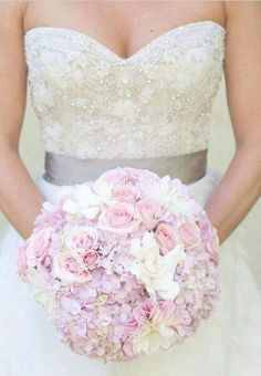 Pink Wedding Bouquet With Lavender Hydrangea Gardenia Dahlias Spray Roses Great If I Go Pastel Themes