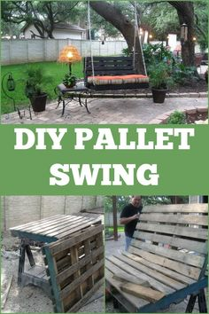 DIY Pallet Swing ~ this would be so pretty in any garden setting.