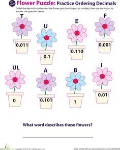 Worksheets: Decimal Dash: Practice Ordering Decimals #6