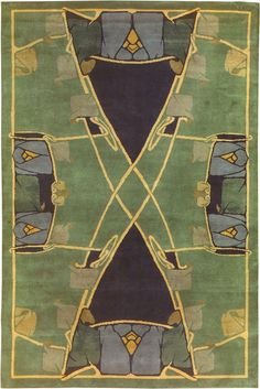 """Art Nouveau rug ~~ The """"Kymric"""", by Archibald Knox, blends Art Nouveau and Celtic influences. This is a striking design and looks fabulous in a number of settings. Like all Guildcraft carpets, it is handknotted and certified child-labor-free by GoodWeave."""