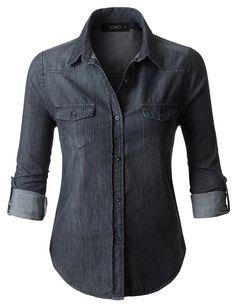 bb02f3d0672a9 LE3NO Womens Vintage Black Distressed Long Sleeve Button Down Denim Shirt  Top Jean Shirts