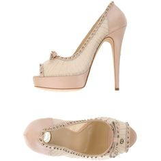 Elisabetta Franchi Court (€160) ❤ liked on Polyvore featuring shoes, pumps, pink, pink leather pumps, leather shoes, pink pumps, pink shoes and open toe shoes