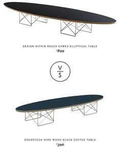 Design Within Reach Eames Elliptical Table $899 Vs @overstock Wire Wood Black Coffee Table $396