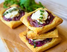 Caramelized Onion and Goat Cheese Tarts. A perfect little appetizer for a Mother's Day brunch | Many Kitchens