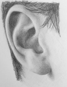 how to draw ear in pencil