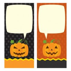 Halloween pumpkins cards with speech bubble Free Vector