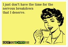 I just don't have the time for the  nervous breakdown  that I deserve.
