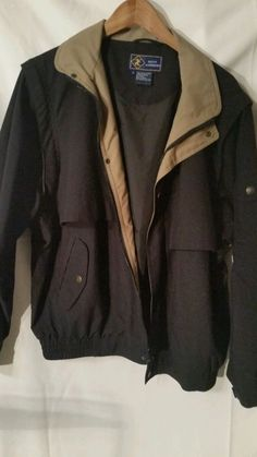St. Andrew Mens Large Jacket Black with Tan Collar L #StAndrew #BasicJacket