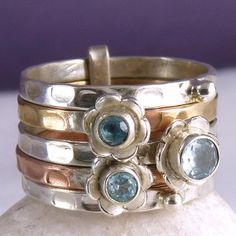 US 8 1/4 ~ 3-Tone Stack of 5 Rings ~ SILVERSARI ~ 925 Sterling Silver/Blue Topaz #silversari #ring