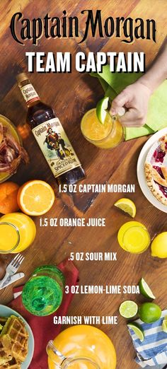A successful brunch has more than waffles, muffins, and bagels. It takes a Captain to bring the team together and make a cocktail recipe worthy of the joyous occasion. To fix a Team Captain for you and your friends, combine oz Captain Morgan Original Bar Drinks, Cocktail Drinks, Cocktail Recipes, Alcoholic Drinks, Beverages, Cocktails, Ceviche, Taquero, Rum Recipes